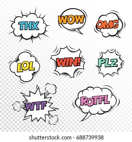 Thx,  PLZ, WTF, LOL, ROTFL, WOW, WIN, OMG. Comic speech bubbles set with different acronims. Vector cartoon illustrations isolated on transparent background.