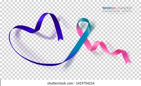 Thyroid Cancer Awareness Month. Teal and Pink and Blue Color Ribbon Isolated On Transparent Background. Vector Design Template For Poster. Illustration.
