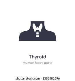 thyroid outline icon. isolated line vector illustration from human body parts collection. editable thin stroke thyroid icon on white background