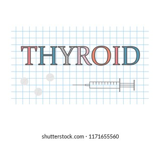 thyroid word on checkered paper sheet- vector illustration