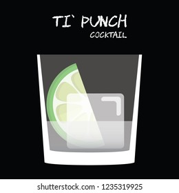 Ti' Punch cocktail illustration vector with lime wedge garnish on square black background.