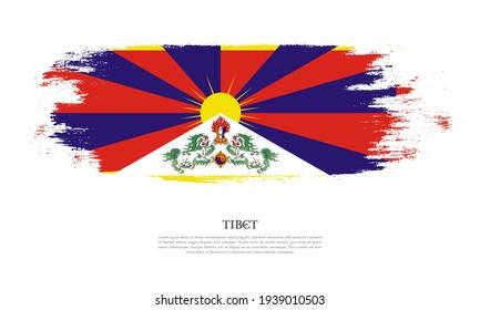 Tibet flag brush concept. Flag of Tibet grunge style banner background