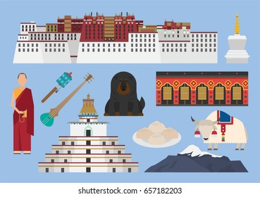 Tibet illustration, vector, landmark, travel, culture