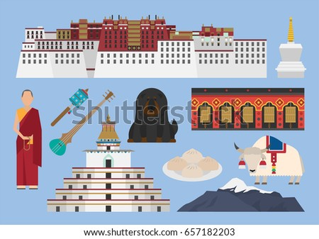 Tibet illustration vector landmark