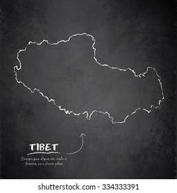 Tibet map blackboard chalkboard vector