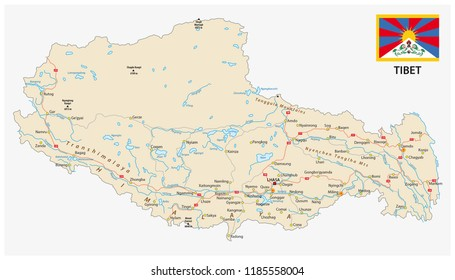 Tibet region with important cities and roads vector map and flag.