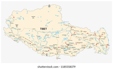 Tibet region with important cities and roads vector map.