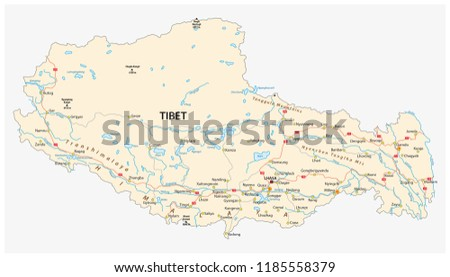 Tibet region with important