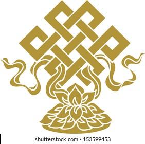 Tibetan endless knot, eternal, Buddhism, Lotus