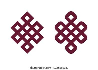Tibetan endless knot - Shrivatsa. Tibet Buddhism sacral symbol isolated on white background. Vector illustration