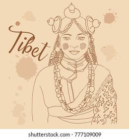Tibetan girl retro style travel poster postcard hand drawn sketch