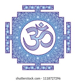 Tibetan and Indian mandala with the sign Aum  / Om / Ohm. In blue tones. Vector graphics