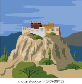 tibetan monastery on mountain landscape
