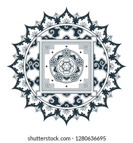 Tibetan pattern Mandala design. Hand drawn decorative element. Template for yoga classes banners, web site and cards design.