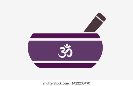 Tibetan singing bowl flat icon with om symbol. Healing music and meditation instrument therapy for relaxation and spirituality