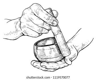 zhekakopylov s illustrator vector artist portfolio shutterstock Tibetan Entertainment tibetan singing bowl in the hands of man vector illustration isolated on white