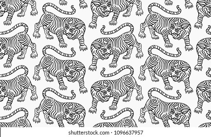 tibetan tiger pattern, old chinese traditional style line work illustration, black lines on white background