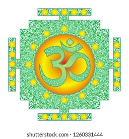 Tibetian openwork mandala, elegant circular ornament with the Om / Aum / Ohm sign in the middle. Yellow, orange and green drawing. Spiritual and sacred symbol. Vector graphics.