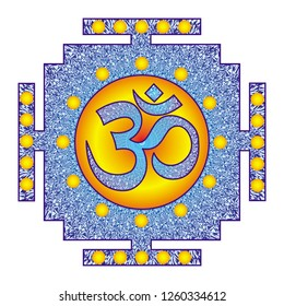 Tibetian openwork mandala, elegant circular ornament with the Om / Aum / Ohm sign in the colors, blue tones drawing. Spiritual and sacred symbol. Vector graphics.