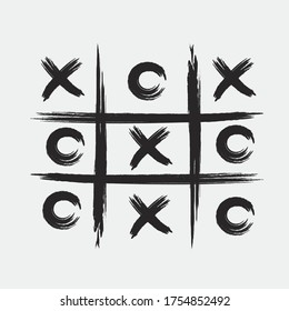 Tic tac toe game with black cross and circle sign mark grunge style art design.