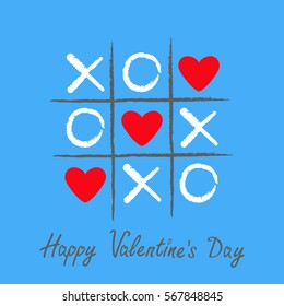 Tic tac toe game with criss cross and three red heart sign mark XOXO. Hand drawn pen brush. Doodle line. Happy Valentines day card Flat design Isolated. Blue background. Vector illustration