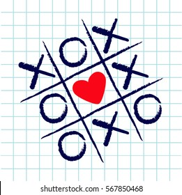 Tic tac toe game with criss cross and red heart sign mark XOXO. Hand drawn blue pen brush. Doodle line. Valentines day Flat design. Exercise book White cell background Paper sheet. Vector illustration
