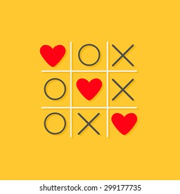 Tic tac toe game with cross and three red heart sign mark Love card Flat design Yellow background Vector illustration
