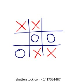 Tic tac toe game, hand-drawn vector icon