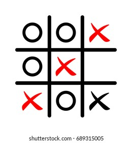 Tic tac toe game icon in red and black color, vector illustration.