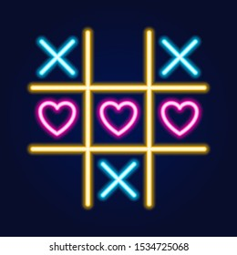 Tic tac toe game, linear outline icon. Neon style. Light decoration icon