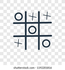 Tic tac toe vector icon isolated on transparent background, Tic tac toe transparency logo concept