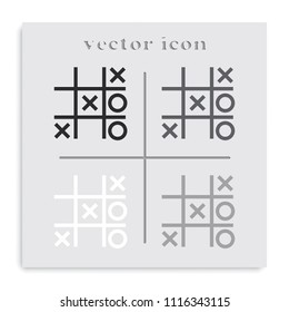 Tic tac toe XO game flat black and white vector icon.