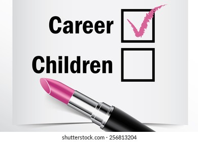 Tick box with lipstick, Career or Children concept of woman choice vector