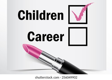 Tick box with lipstick, Children or Career concept of woman choice vector