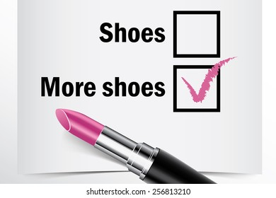 Tick box with lipstick, Shoes or More shoes concept of woman choice vector