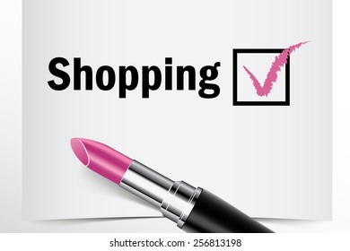Tick box with lipstick, Shopping concept of woman choice vector