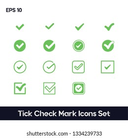 Tick Check Mark Icons Set. Ui/Ux. White Background. Premium quality.