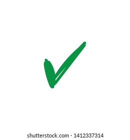 Tick checkmark, green approval check mark doodle. Hand drawn approval icon.
