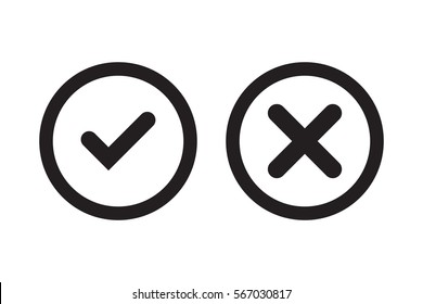 Tick and cross black signs. Gray checkmark OK and X icons, isolated on white background. Simple marks graphic design. Circle symbols YES and NO button for vote, decision, web. Vector illustration