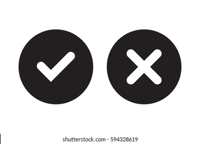 Tick and cross black signs. Gray checkmark OK and red X icons, isolated on white background. Simple marks graphic design. Circle symbols YES and NO button for vote, decision, web. Vector illustration