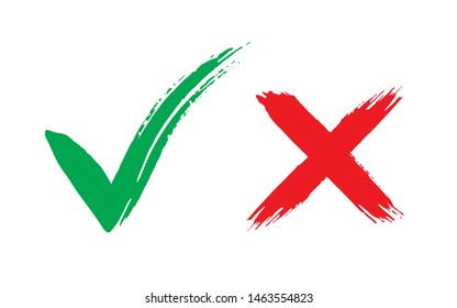 Tick and cross brush signs. Green checkmark OK and red X icons, isolated on white background. Symbols YES and NO button for vote, decision, web. Right and wrong.