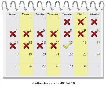 Tick and cross calendar april 2010