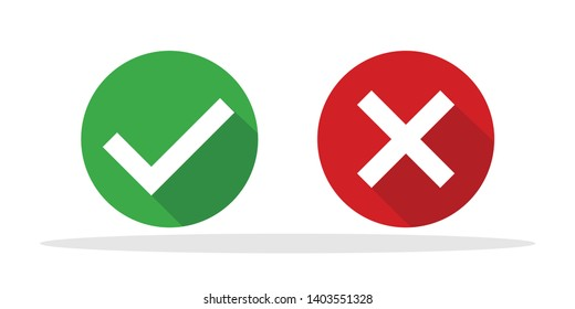 Tick and cross icon in trendy flat style. Yes No symbol for your web site design, logo, app, UI Vector EPS 10.