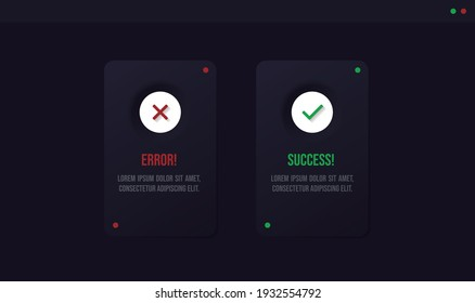 Tick and cross icons cards. Error or success icons. Green tick and red  cross check marks. UX, UI design for good or bad choices.