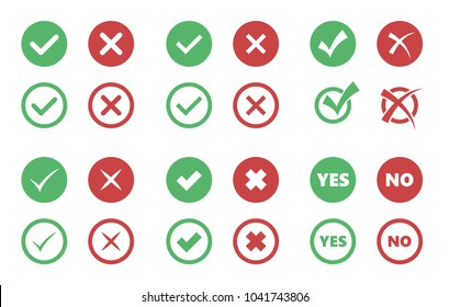tick and cross icons, check box signs