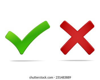Tick and cross icons, yes no symbols green an red. Vector illustration of check mark, you can easily change the color and size