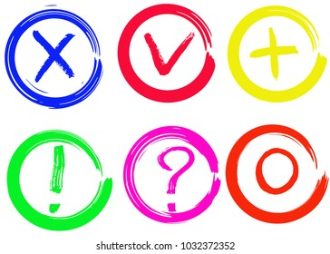 Tick, cross, plus, null, question marks and exclamation vector signs. Dry brush strokes, hand drawn