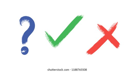 tick, cross and question sign elements. vector buttons for vote, election choice, check marks, approval signs design. Red X, green OK and blue question symbol icons. list marks, survey signs.