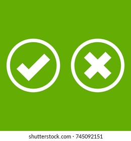 Tick and cross selection icon white isolated on green background. Vector illustration