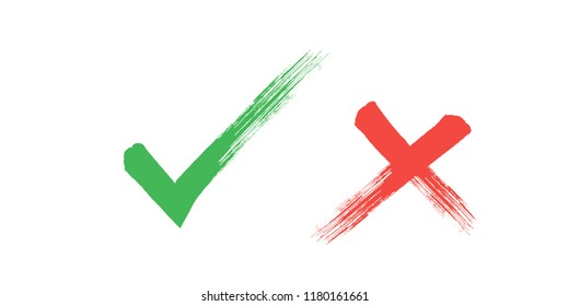 tick cross sign elements. vector buttons for vote, election choice, check marks, approval signs design. Red X, green OK and blue question symbol icons. list marks, survey signs.